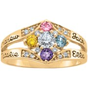 Keepsake Personalized Family Jewelry Daydream Mother's Birthstone Ring available in Gold over Silver, 10kt and 14kt Yellow and White Gold