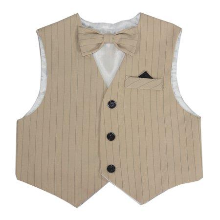 Tan Stripe Bow - Boys Tan Striped Vintage Vest Set with Matching Bow Tie