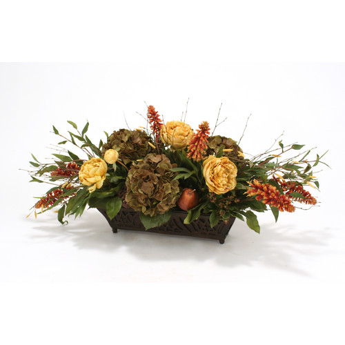 Distinctive Designs Silk Roses, Peonies, Berries and Birch in Rust Filigree Planter