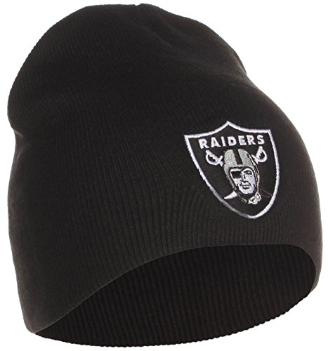 Oakland Raiders Uncuffed Embroidered Logo Winter Knit Beanie Hat - Black