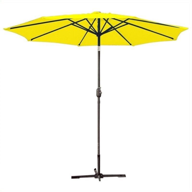 Jeco 9ft. Aluminum Patio Market Umbrella Tilt with Crank in Yellow Fabric Grey Pole
