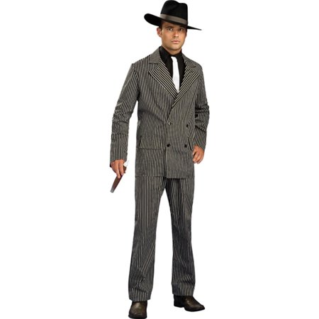 Men's Large 42-44 Gangster Pinstripe Costume Zoot Suit](Pinstripe Suit Costume)