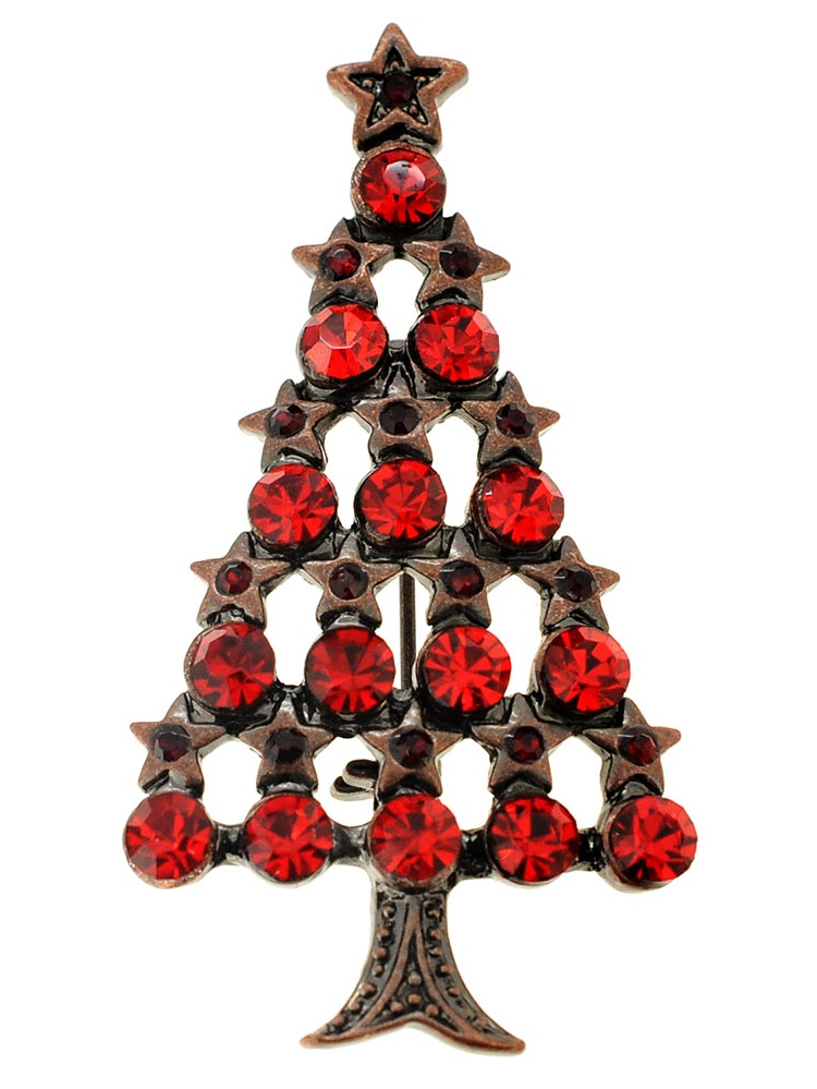 Red Christmas Tree Crystal Pin Brooch by