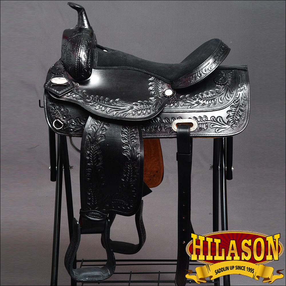 "CDF202BK HILASON WIDE GULLET DRAFT WESTERN TRAIL ENDURANCE HORSE SADDLE 15"" by"