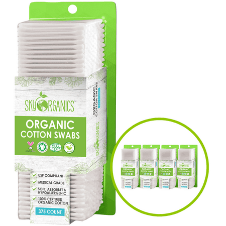 Cotton Swabs Organic (375 Ct. x 4 Pack) I Natural Cotton Buds, Cruelty-Free Cotton Swabs Biodegradable All Natural Cotton Swabs Chlorine-Free Hypoallergenic Cotton Swabs Organic Cotton Swabs