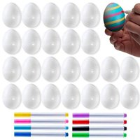 Pack of 24 White Plastic Easter Eggs with 8 Markers for DIY Doodling and Design - Great for Easter Hunts and Party Favors