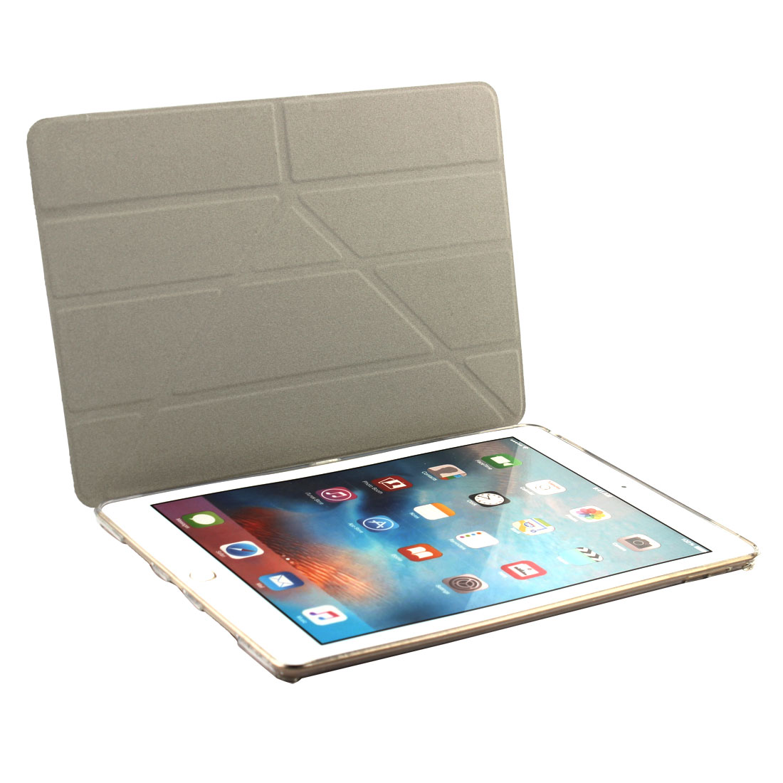 Gray PU Leather Foldable Protect Shell Cover Case for iPad Pro 9.7 Inch