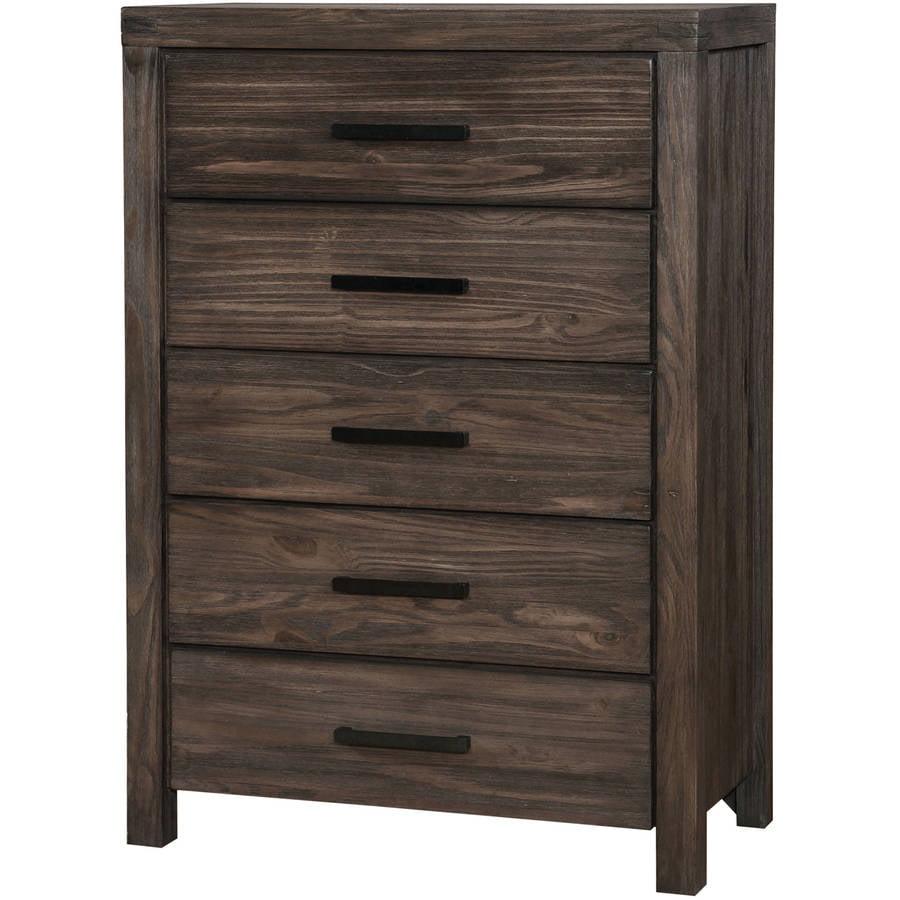 Furniture of America Taylah 5-Drawer Chest, Dark Grey