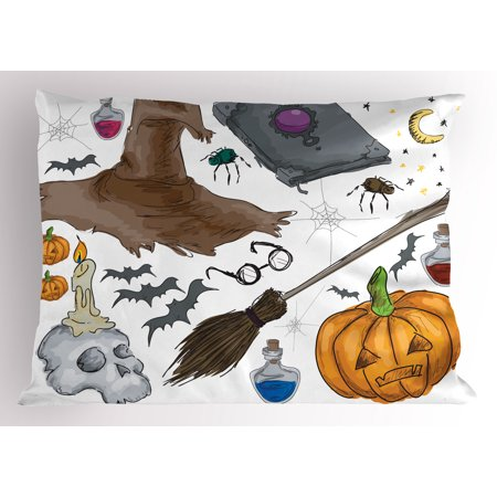 Halloween Pillow Sham Magic Spells Witch Craft Objects Doodle Style Illustration Grunge Design Skull, Decorative Standard Size Printed Pillowcase, 26 X 20 Inches, Multicolor, by Ambesonne (Halloween Doodle 2017)