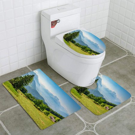 XDDJA Laysin Alps 3 Piece Bathroom Rugs Set Bath Rug Contour Mat and Toilet Lid Cover - image 1 of 2