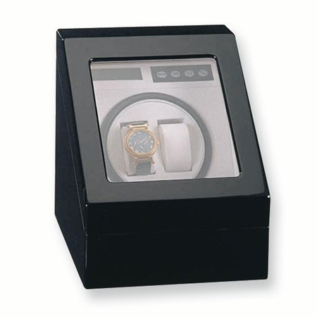 Two Slot Watch Winder - Black Gloss Finish 1-Turntable Winder for 2 Watches GM3777
