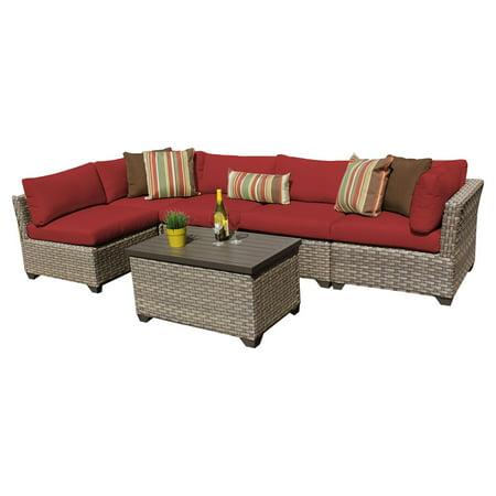 TK Classics Monterey Wicker 6 Piece Patio Conversation Set with 2 Sets of Cushion (6 Piece Patio)