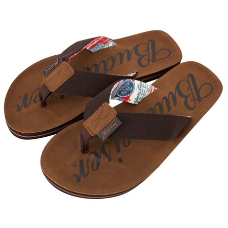 Budweiser Script Logo Men's Flip Flop Brown Sandals-Large