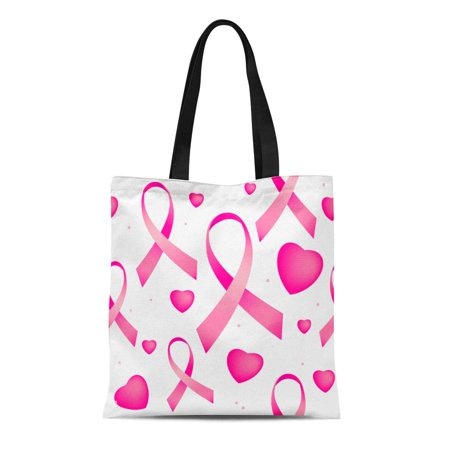 ASHLEIGH Canvas Tote Bag Pink Breast Cancer Ribbons and Hearts Awareness Endless Reusable Shoulder Grocery Shopping Bags Handbag