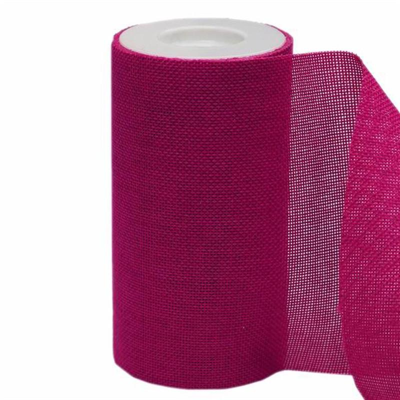 """6""""x10 Yards Fushia Polyester Fine Rustic Burlap Jute Roll For Wedding Party Decorations"""