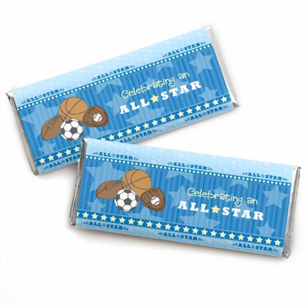 All Star Sports - Candy Bar Wrappers Party Favors - Set of 24