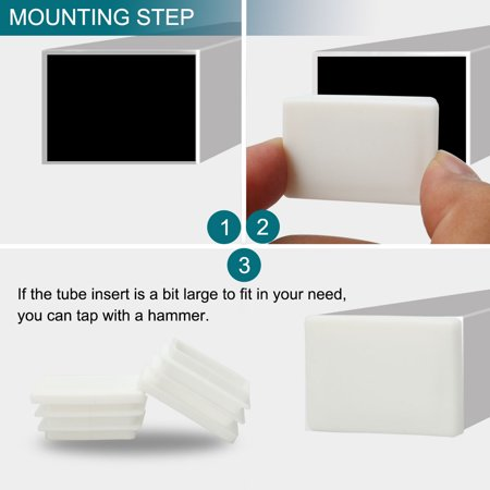 8pcs 25 x 38mm Plastic Rectangle Ribbed Tube Inserts End Cover Cap Furniture Chair Table Feet Floor Protector - image 4 de 7