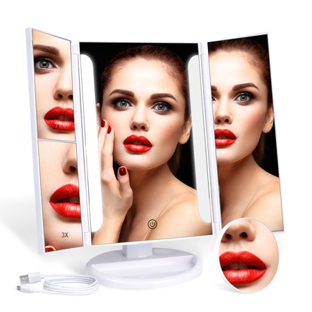 MYONAZ Led Makeup Mirror 21 LED Lighted Vanity Mirrors Tri Fold with USB (White)