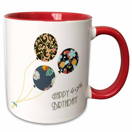 3dRose Happy 49th Birthday - Modern stylish floral Balloons. Elegant black brown blue 49 year old Bday - Two Tone Red Mug, (Birthday Present For 49 Year Old Man)