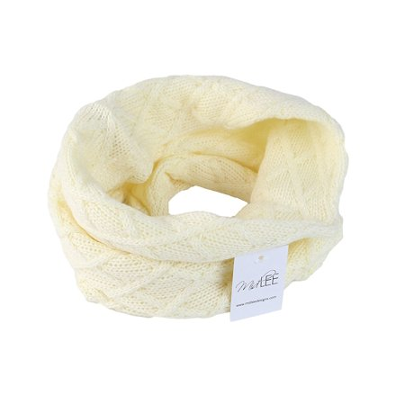 Scarf Dog Clothing - Cream Knit Infinity Scarf for Dogs by Midlee (Small)