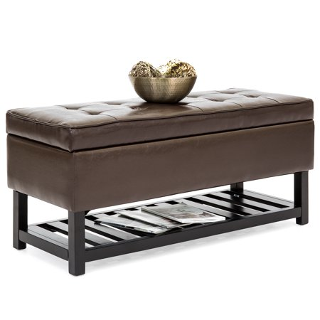 Best Choice Products Tufted Faux Leather Storage Ottoman Stool Seat Bench w/ Safety Hinges, Open Bottom Shelf for Shoe Rack, Entryway, Living Room - Espresso