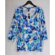 Karen Scott Plus Size Top 3X Printed 3/4 Sleeve Deep Pacific Blue / White NEW