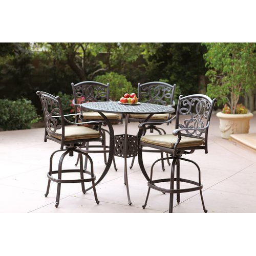 Fleur De Lis Living Calhoun 5 Piece Bar Height Dining Set with Cushions