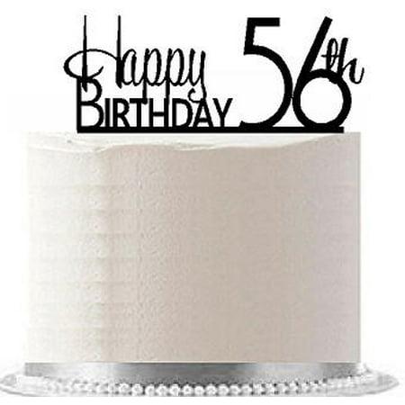 Item#AE-160 Happy 56th Birthday Agemilestone Elegant Cake Topper (Elegant Cake Toppers)