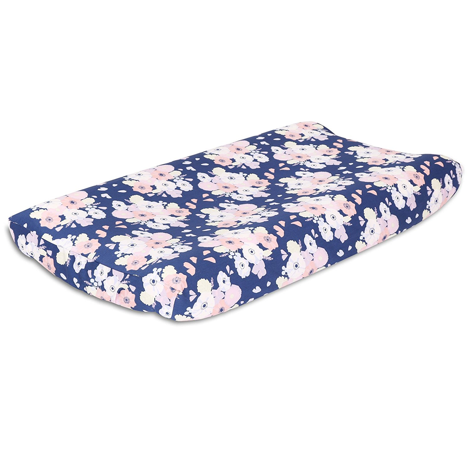 Navy Blue and Coral Floral Baby Changing Pad Cover by, This Peanut Shell changing pad cover features a rich navy blue background strewn with flowers and petals.., By The Peanut Shell Ship from US