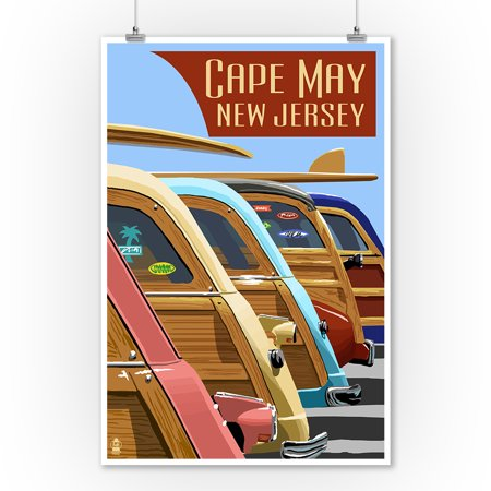 Cape May, New Jersey - Woodies Lined Up - Lantern Press Poster (9x12 Art Print, Wall Decor Travel Poster) ()