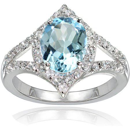 Sterling Silver Shank (Blue and White Topaz Sterling Silver Oval Fashion Split Shank Ring)