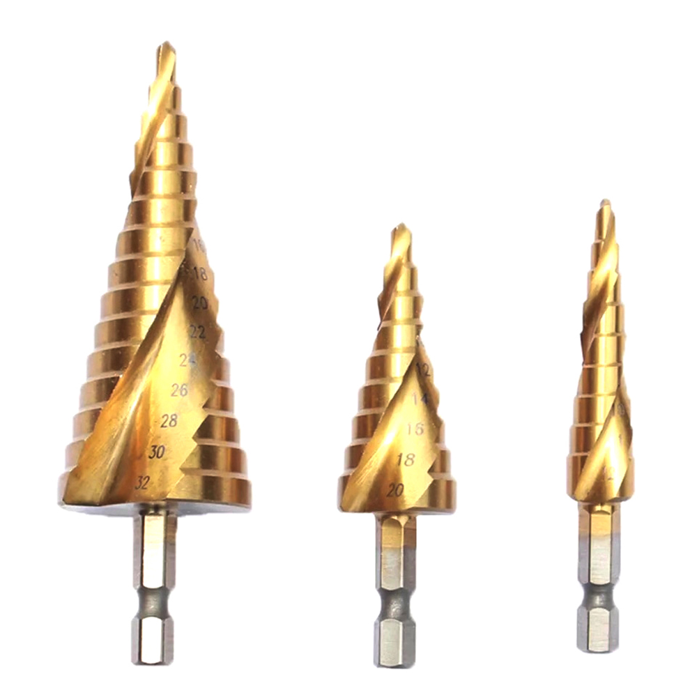 CLEARANCE HSS STEP CONE DRILLS TITANIUM COATED FOR STEEL ALUMINIUM BRASS WOOD