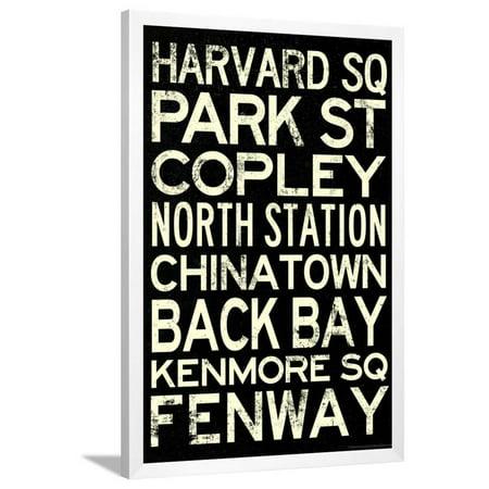 Boston MBTA Stations Vintage Subway RetroMetro Travel Poster Framed Poster  Wall Art