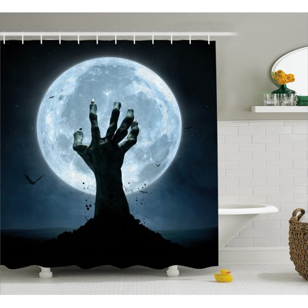 Halloween Shower Curtain, Realistic Zombie Earth Soil Full Moon Bat Horror Story October Twilight Themed, Fabric Bathroom Set with Hooks, Blue Black, by Ambesonne - Halloween Themed Wedding Shower