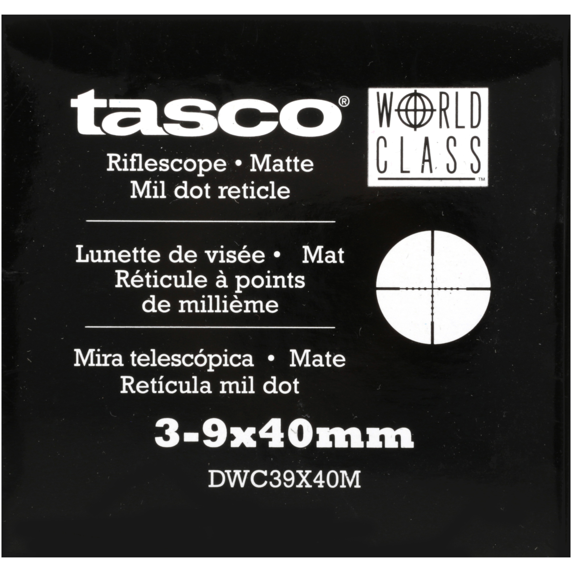 Tasco World Class DWC39X40M 3-9X40MM Black Matte True Mil-Dot Ret Box by Bushnell Corporation