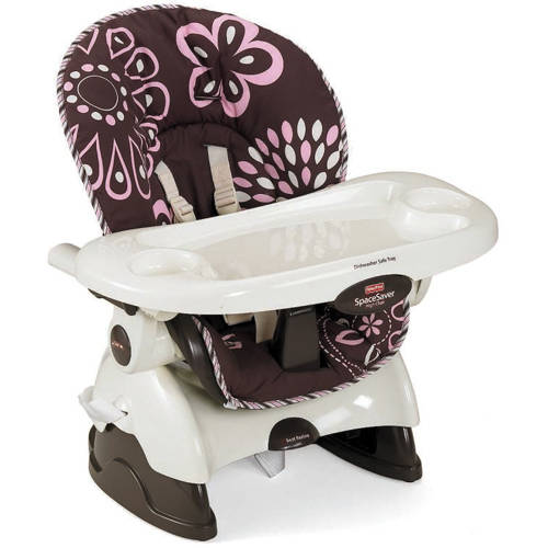 fisher-price spacesaver high chair, cocoa pink - walmart
