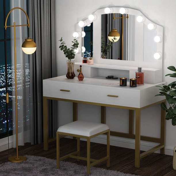 """47""""large vanity set with tri-folding lighted mirror"""