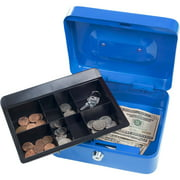 "Stalwart 8"" Locking Cash Box with Coin Tray"