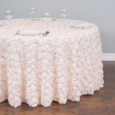 120 In. Round Chiffon Rosette Tulle Tablecloth Light Pink And White