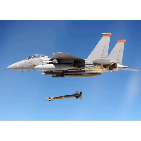 An F-15E Strike Eagle drops a GBU-28 bomb during a Combat Hammer mission Poster Print by Stocktrek Images
