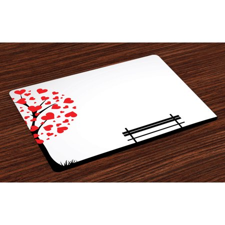 Tree Placemats Set of 4 Tree with Heart Shaped Leaves and A Bench Romance Valentines Secret Land Artsy Work, Washable Fabric Place Mats for Dining Room Kitchen Table Decor,Red Black,