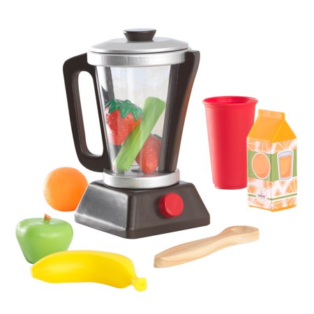Fruit Smoothie Set (KidKraft Wooden Espresso Smoothie Set with Pretend Fruits and Vegetables Play Food, Removable Lid )