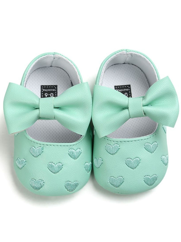 Infant Newborn Toddler Baby Girl Soft Sole Non-slip Bow-Knot Solid Crib Shoes