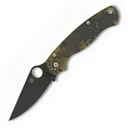 Spyderco Para Military 2 G-10 Camo Black Blade PlainEdge Folding Knife ()