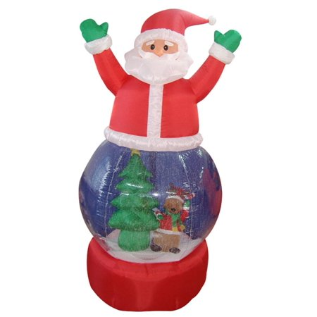 5' Inflatable Santa Claus Snow Globe Lighted Christmas Outdoor Decoration - Halloween Snow Globe Song