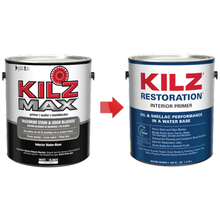 KILZ Restoration Interior Water-Based Primer, Sealer & Stainblocker, White - New Name, Same Trusted Formula