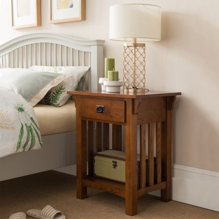 - Leick Home 1 Drawer Mission Night Stand with Slat Sides