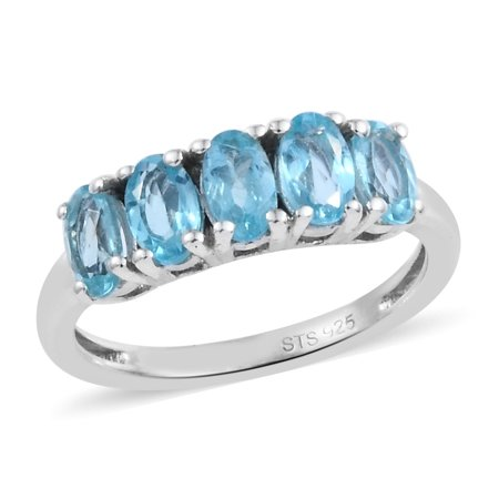 5 Stone Ring 925 Sterling Silver Platinum Plated Oval Apatite Gift Jewelry for Women Ct 0.8