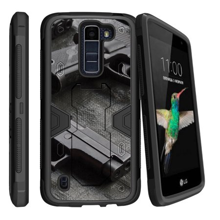 LG K7 | LG Tribute 5 Dual Layer Shock Resistant MAX DEFENSE Heavy Duty Case with Built In Kickstand - (Best Automatic Handgun For Home Defense)