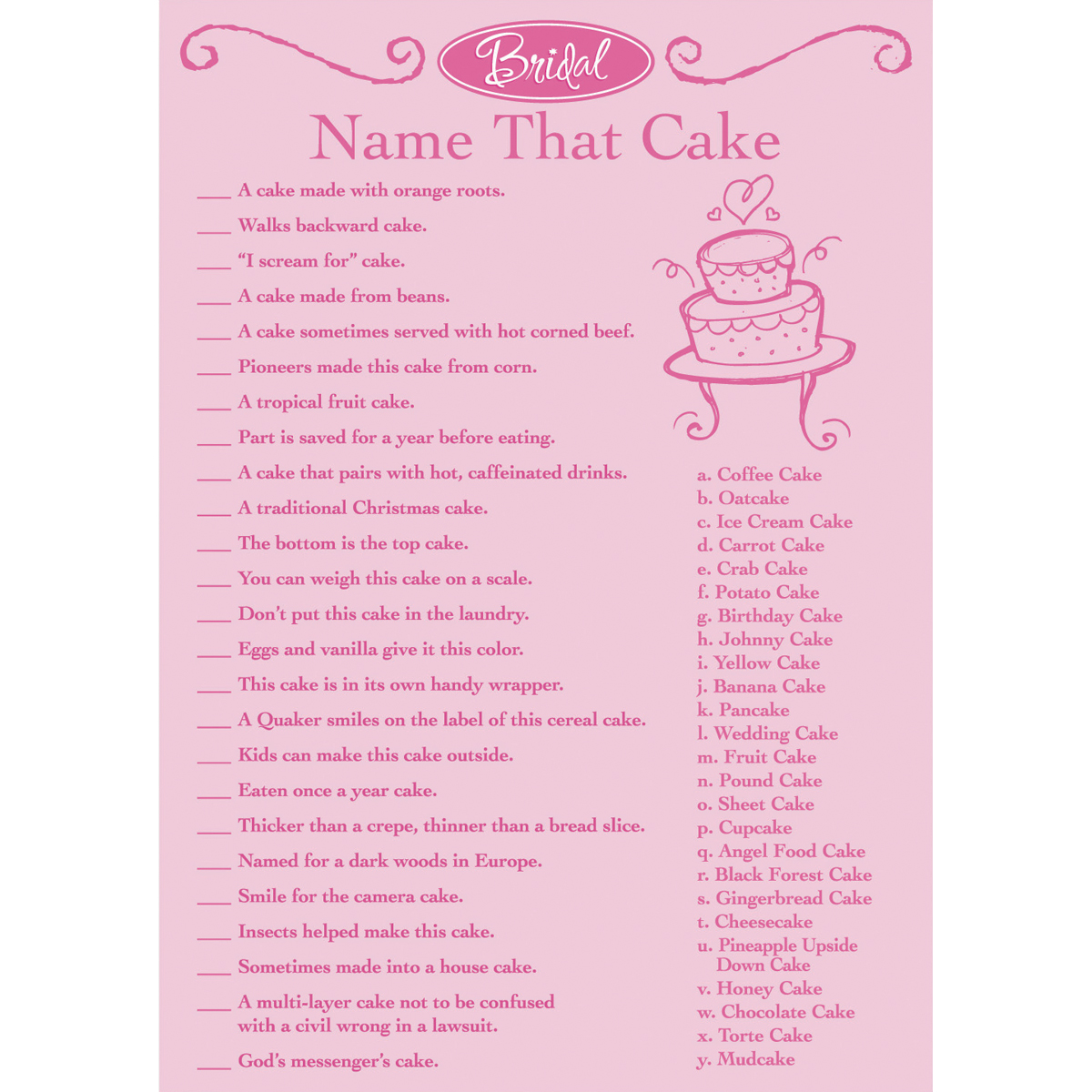 Bridal Game Sheets, 50-Pack, Name That Cake